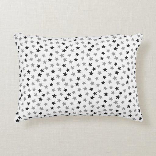 Black and White Stars Decorative Pillow Zazzle