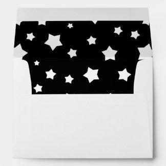 Black and white stars pattern envelope