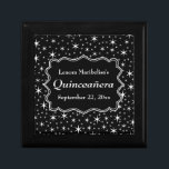 """Black and White Stars Pattern Quinceanera Jewelry Box<br><div class=""""desc"""">The background of this monochrome Quincea&#241;era design is a starry pattern in black and white. The custom text is on a nice stylish shape which is black with white detail. This is a girls 15th birthday party design that can be personalized,  and has a star patterned background.</div>"""