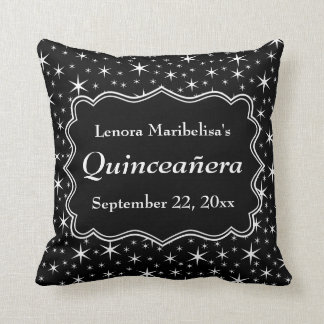 Black and White Stars Pattern Quinceanera Throw Pillow