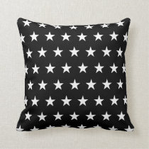 Black and White Stars Pattern Throw Pillow