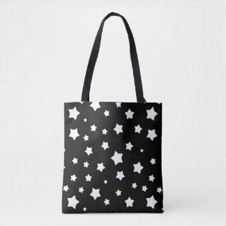 Black and white stars pattern tote bag