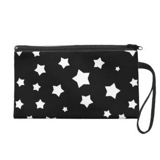 Black and white stars pattern wristlet
