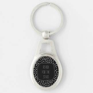 Black and White Stars Silver-Colored Oval Metal Keychain