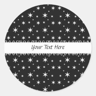Black and White Stars Sticker