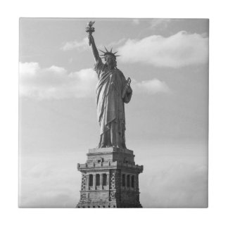 Black and White Statue of Liberty Ceramic Tile