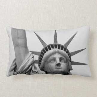 Black and White Statue of Liberty Lumbar Pillow