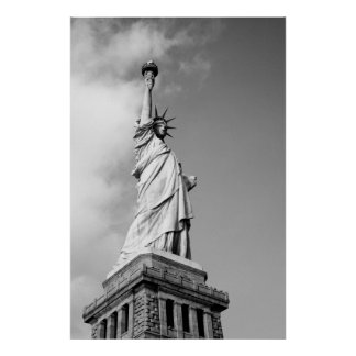 Black and White Statue of Liberty Wall Poster