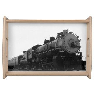 Black and white Steam engine Serving Tray
