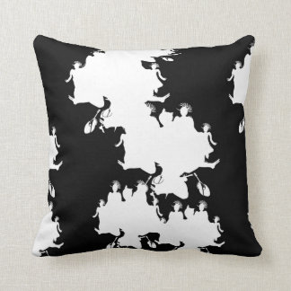Black and White Stencil People Cushion Pillow