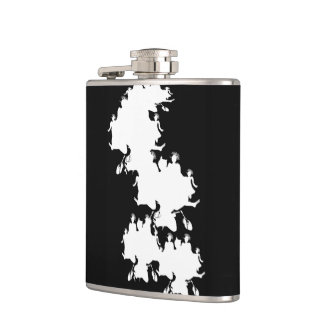 Black and White Stencil Vinyl Wrapped Flask