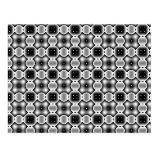 Black and White Strange Round Check Pattern Postcard