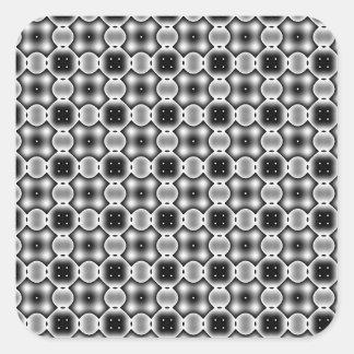 Black and White Strange Round Check Pattern Square Sticker