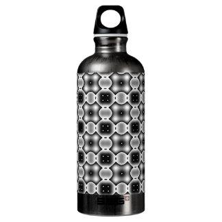 Black and White Strange Round Check Pattern Water Bottle