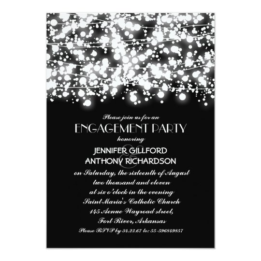 Black And White String Lights Engagement Party Invitation