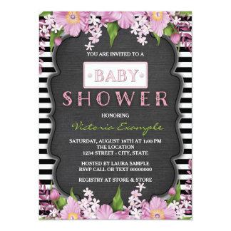 Black and White Stripe Chalk Baby Shower Card