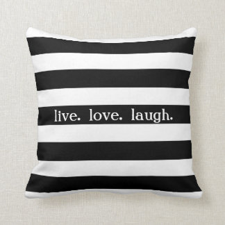 Black and White Stripe Custom Sentiment V01 Throw Pillow