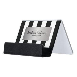 Black and White Stripe Design   Silver Label Desk Business Card Holder