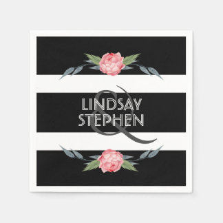 Black and White Stripe Elegant Pink Floral Wedding Napkin