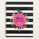 """Black and White Stripe Floral Planner<br><div class=""""desc"""">Perfect for home, school, or work - you will love the unique design of our Black and White Striped Floral Planner! This design features bold, black and white stripes with a hand-drawn floral border accent around a pink center circle. The center circle can be personalized with any text you would...</div>"""