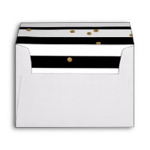 Black and white stripe & gold glitter liner white envelope