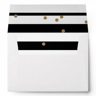 Black and white stripe & gold glitter liner white envelope