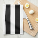 "Black and white stripe kitchen dish towels<br><div class=""desc"">Bold,  classic pattern sure to go with anything! Quality kitchen dish towels with wide black and white stripes running vertically down the towel.</div>"