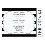"Black and White Stripe Modern Wedding Details Card 3.5"" X 5"" Invitation Card"