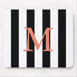 Black and white stripe monogrammed mouse pad