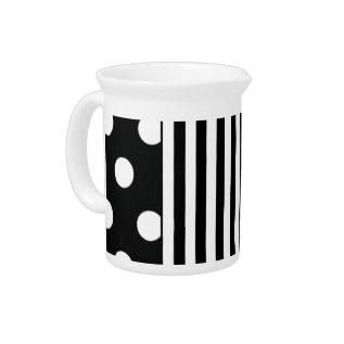 Black And White Stripe On Dot Drink Pitcher at Zazzle