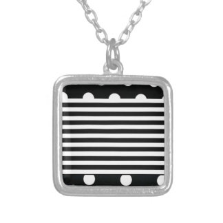 Black and White Stripe on Dot Silver Plated Necklace