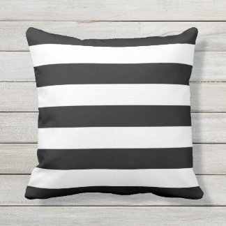 Black and White Stripe Outdoor Throw Pillow
