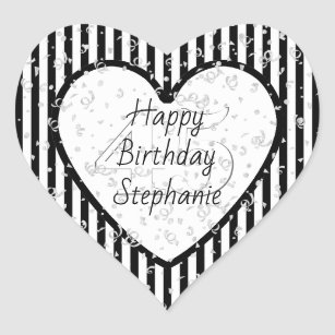 Black And White Happy Birthday Stickers | Zazzle