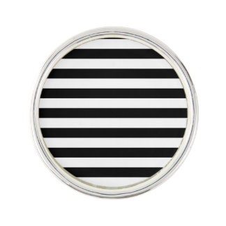 Black and White Stripe Pattern Lapel Pin