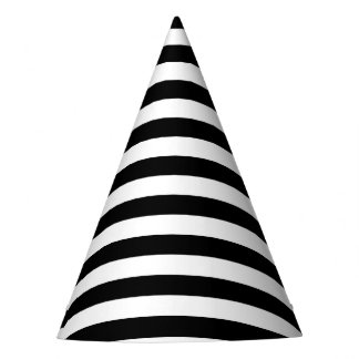 Black and White Stripe Pattern Party Hat