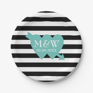 Black and white stripe pattern wedding plates