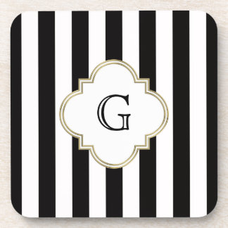 Black and White Stripe Pattern with White Monogram Drink Coaster