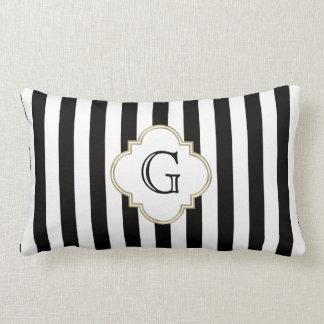 Black and White Stripe Pattern with White Monogram Throw Pillow