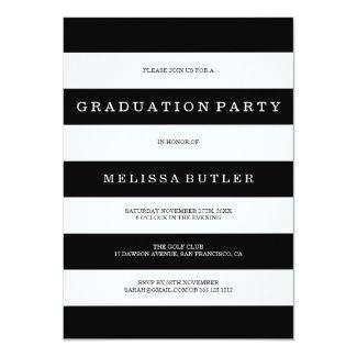 Black and White Stripe Photo Graduation Invitation