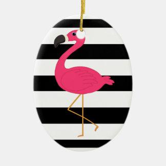 Black and White Stripe Pink Flamingo Ceramic Ornament