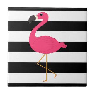 Black and White Stripe Pink Flamingo Ceramic Tile