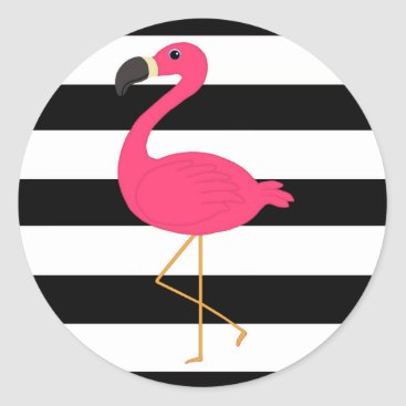 Beach Themed Black and White Stripe Pink Flamingo Classic Round Sticker