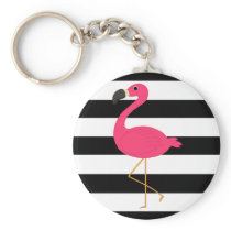 Black and White Stripe Pink Flamingo Keychain