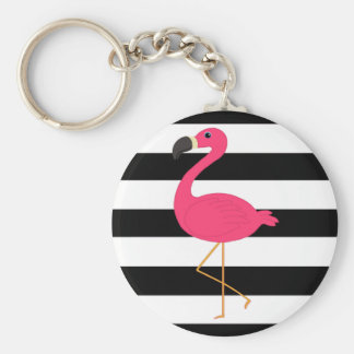 Black and White Stripe Pink Flamingo Keychain