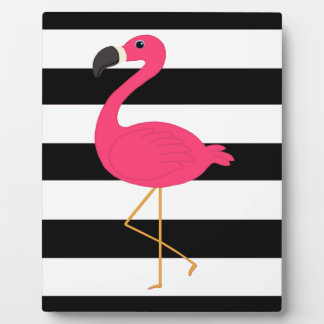 Black and White Stripe Pink Flamingo Display Plaques