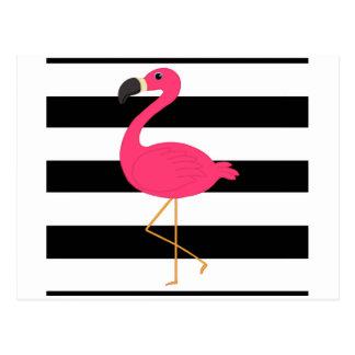 Black and White Stripe Pink Flamingo Postcard