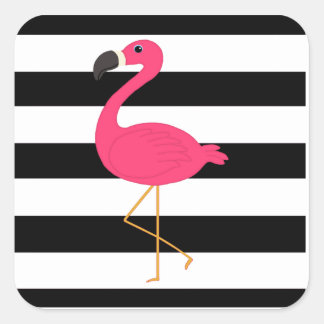 Black and White Stripe Pink Flamingo Square Sticker