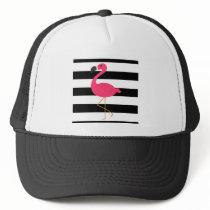 Black and White Stripe Pink Flamingo Trucker Hat