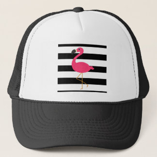 Black and White Stripe Pink Flamingo Trucker Hat