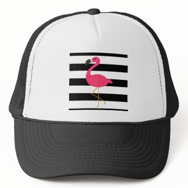 Beach Themed Black and White Stripe Pink Flamingo Trucker Hat